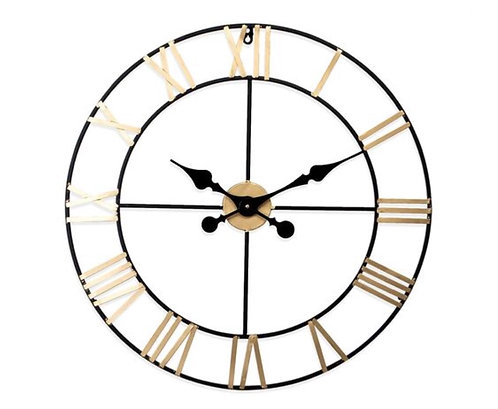 Black & Gold Roman Numeral Skeleton Clock (L)