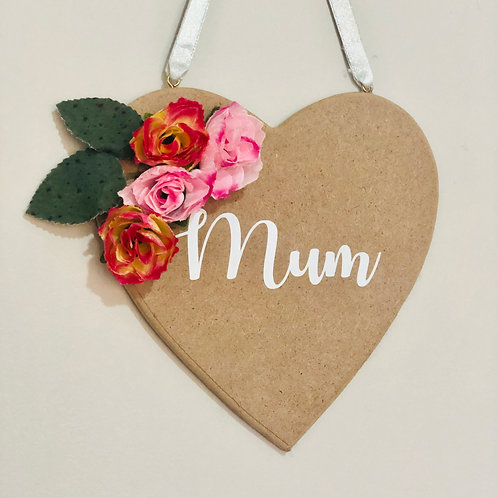 Personalised Wooden Flower Wall Hanging Heart