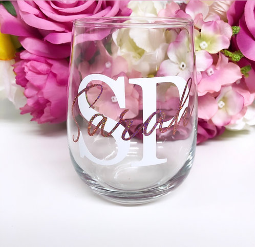 Personalised Double Initials Stemless Wine Glass