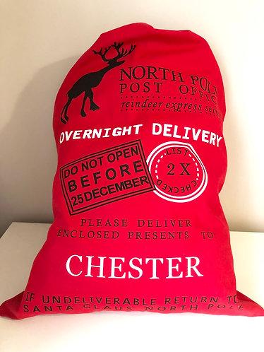 Personalised Red Drawstring Santa Sack