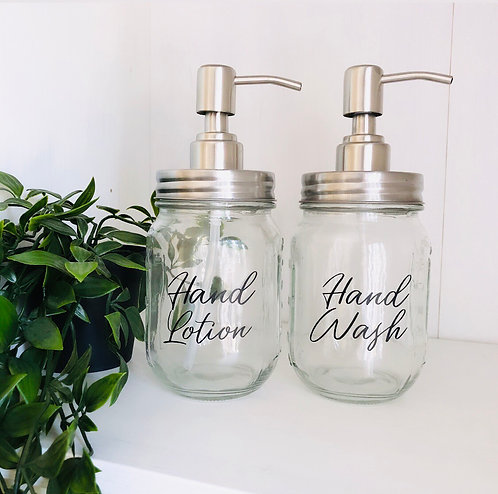 Personalised Glass Mason Jar Soap Dispensers Pump