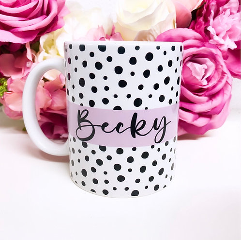 Personalised Spotted Pink Mug