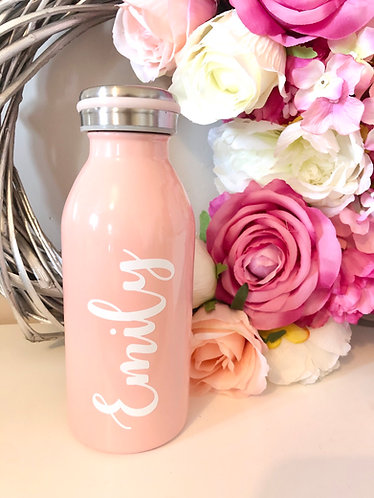 Personalised Children Adult Double Walled Water Bottle. Keeps drinks hot and col