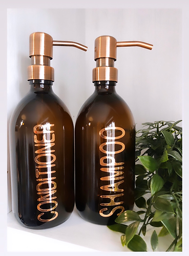 Amber Glass 500ml Pump Dispenser // Bathroom // Kitchen // Personalised Bottle
