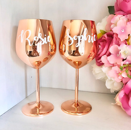 Personalised Rose Gold Stainless Steel Wine Glass