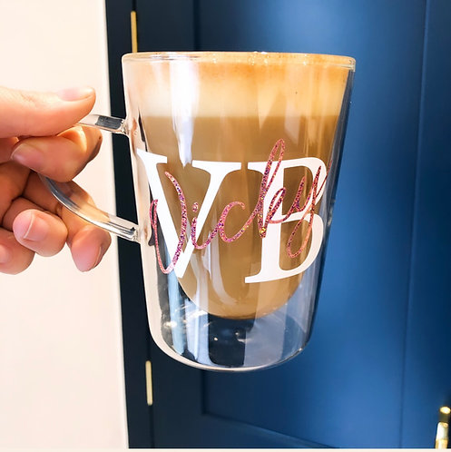 Personalised Double Initial/Walled Glass Mug