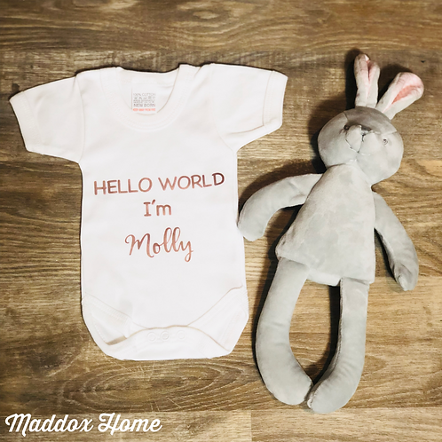 Personalised Hello World Baby Grow