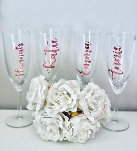 Personalised Glass Champagne Flutes