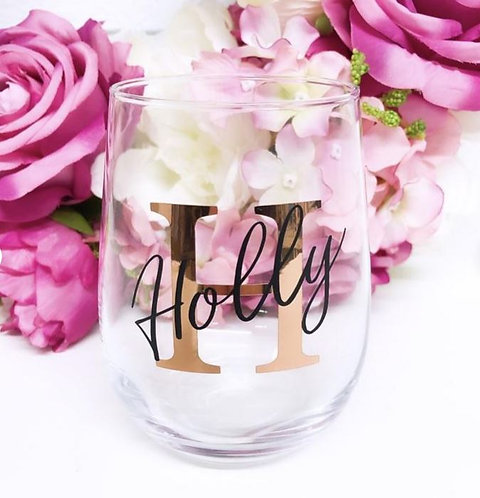 Personalised Double Layered Stemless Wine Glass