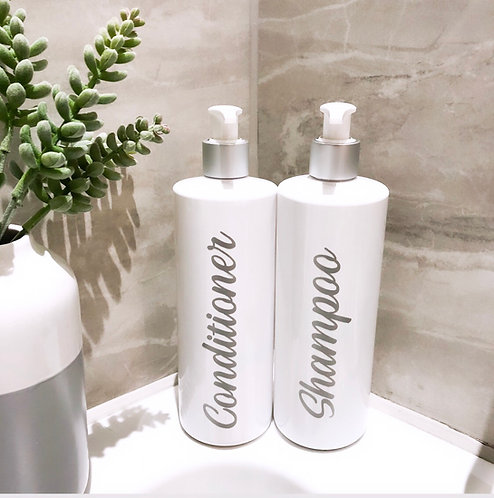 White Bathroom Bottle with Matt Silver Pump - Reusable Personalised Dispensers