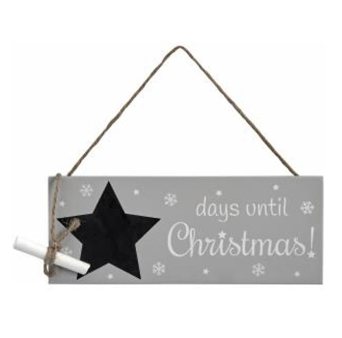 Grey Christmas Countdown Sign
