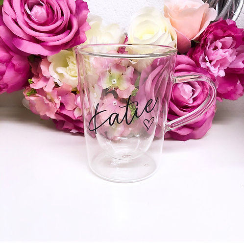 Personalised Named Double Walled Glass Mug