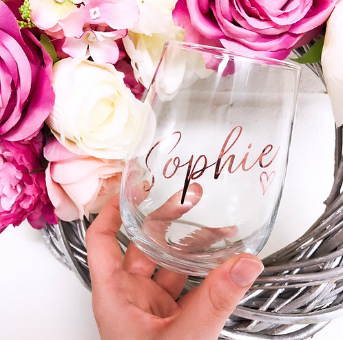 Personalised Stemless Named Wine Glass - 475ml