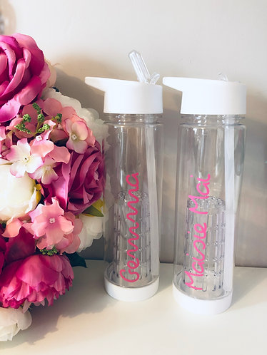 Personalised White Fruit Infuser Water Bottle