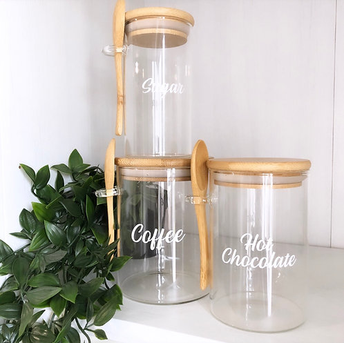 Personalised Bamboo Glass Eco Friendly Jar with spoon