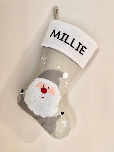 Personalised Grey Santa Stocking