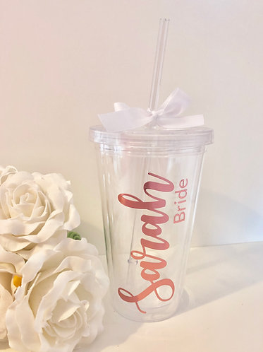 Wedding Inspired Clear Personalised Tumbler