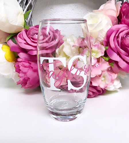 Personalised Named Double Initial Highball Glass