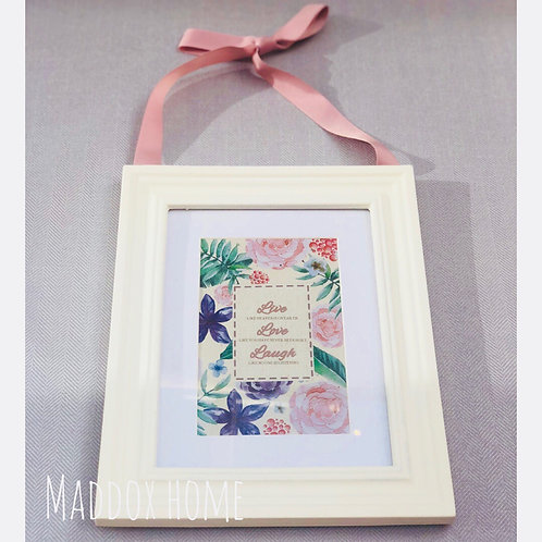 White Frame with Pink Ribbon