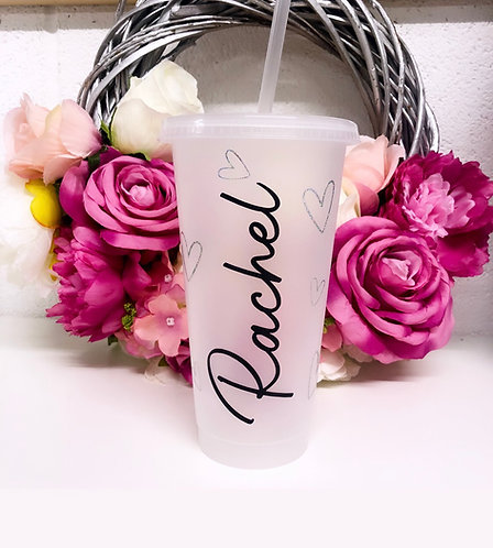 Personalised Frosted Named Plastic Tumbler with Hearts