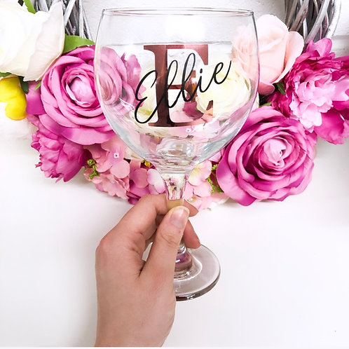Personalised Initial Double Layered Writing Gin Glass