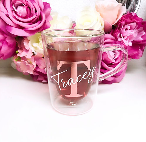 Personalised Double Walled Initial Glass Mug