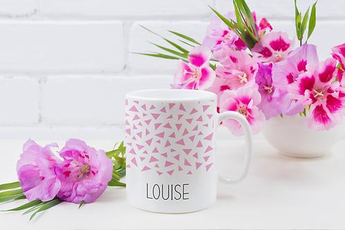 Geo Pink Pattern Personalised Mug