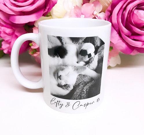 Personalised Pet Black and White Photo Mug with Name