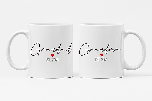 Personalised Grandma and Grandad // Nanny Est Single or Mug Set