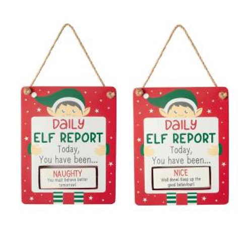 Rotating Elf Report Sign
