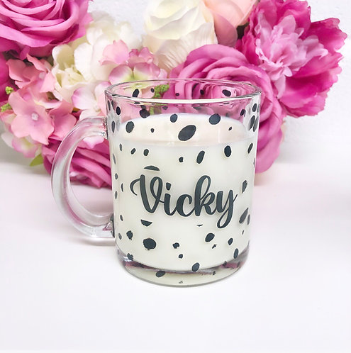 Personalised Glass Dalmatian Print Mug