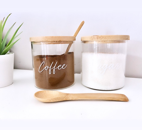 Personalised Bamboo Glass Storage with Spoon