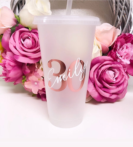 Personalised Milestone // Initial Double Layered Clear Frosted Tumbler