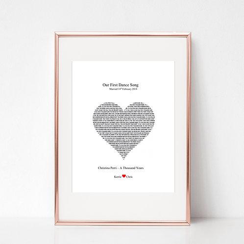 First Dance Song Wedding Print