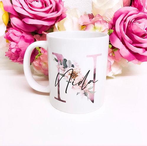 Personalised Pink Floral Initial Mug