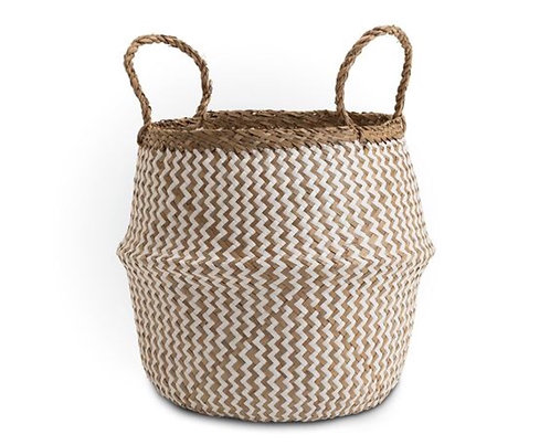 Deedy Zig Zag Natural & White Seagrass Basket XL