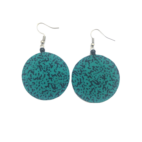 Teal and Navy Blue African Fabric Earrings