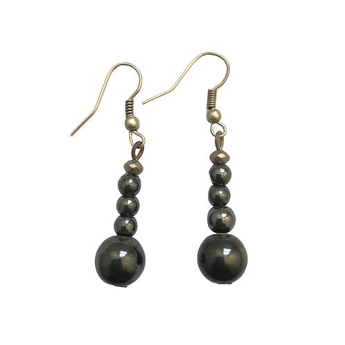 Round Grey Metallic Earrings