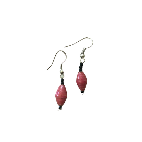 Red Paper Bead Earrings