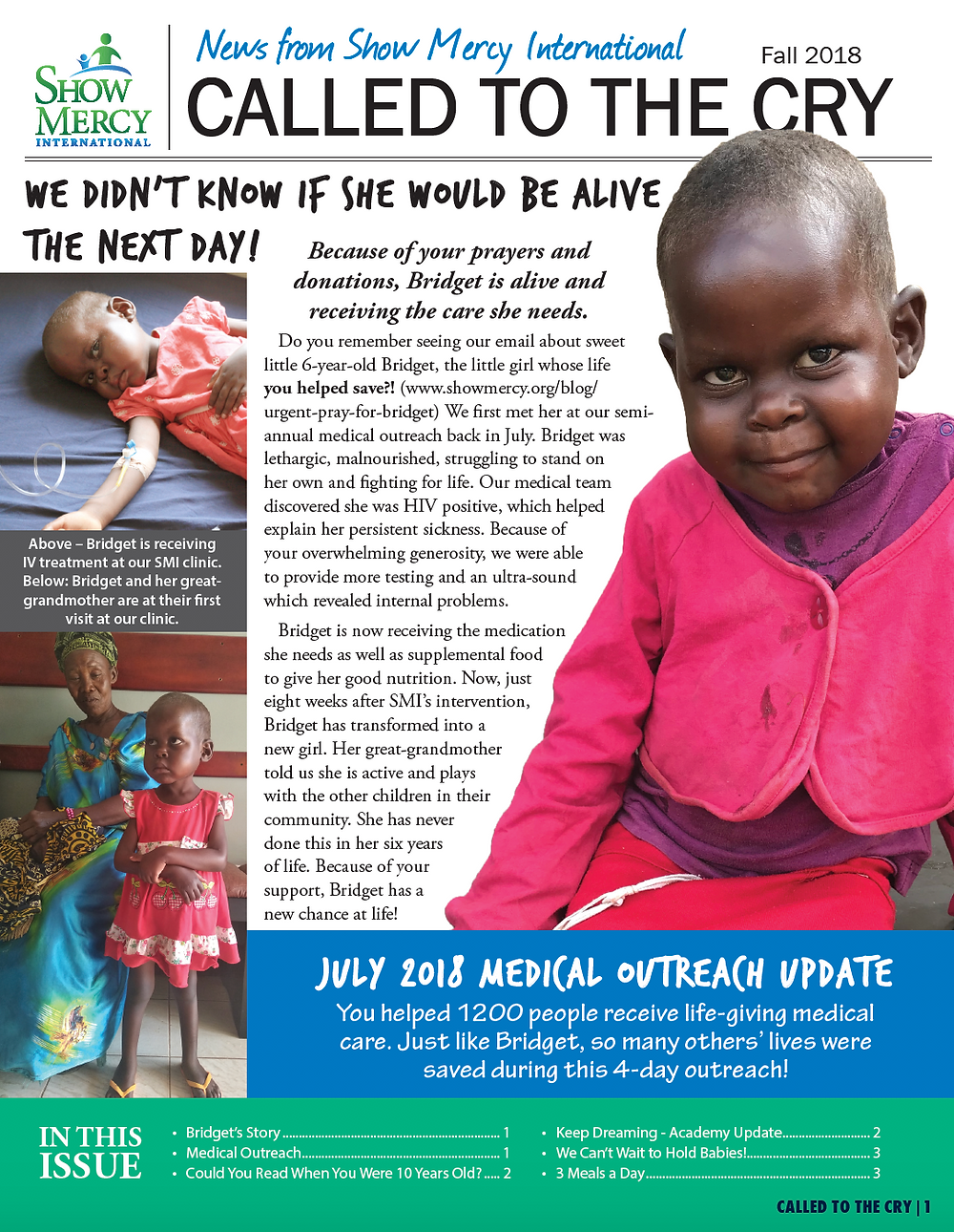 show mercy international newsletter, fall 2018, sponsorship, uganda, mission trips, short-term