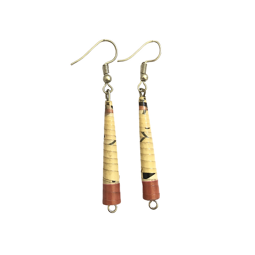 Cream and Light Coral Paper Dangle Earrings