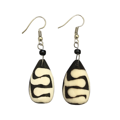 Brown and White Cow Horn Earrings