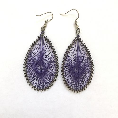 Purple Thread Earrings