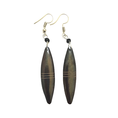 Dark Brown Cow Horn Earrings