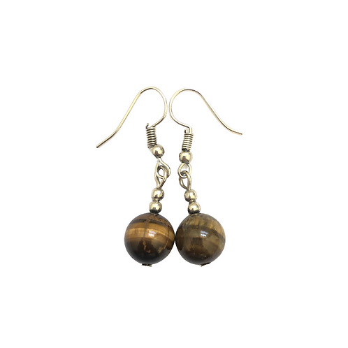 Round Brown Dangle Earrings