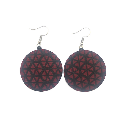 Wine Red with Black African Fabric Earrings