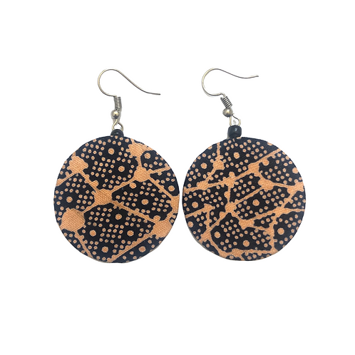Beautiful Round African Fabric Earrings