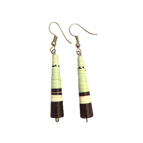 Early Spring Green and Brown Paper Earrings
