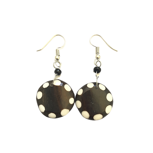 Brown and White Spotted Cow Horn Earrings