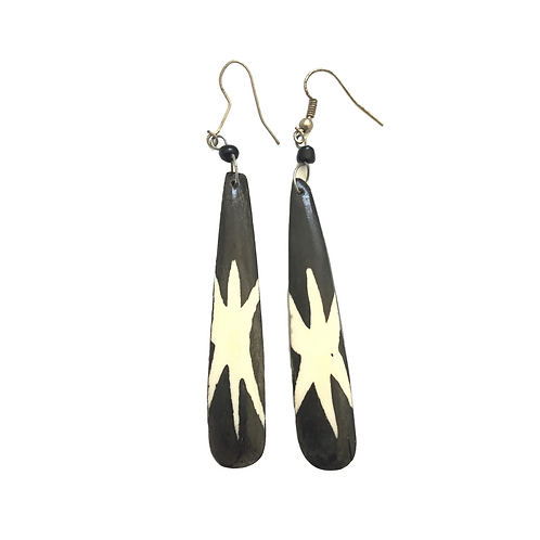 Unique Brown and White Cow Horn Earrings